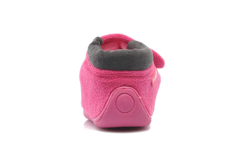Hausschuhe Isotoner Bottillon velcro micro-éponge rosa ansicht von rechts