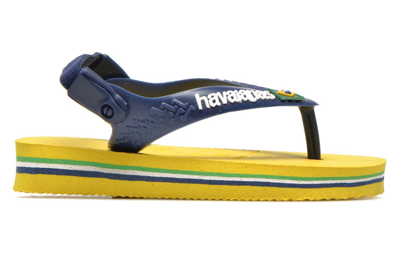 Tongs Havaianas Baby Brazil Logo Jaune vue derrière