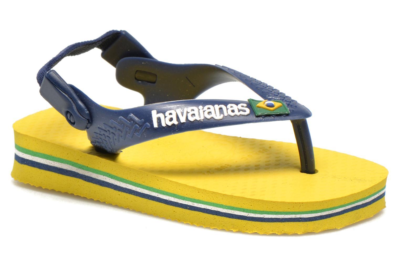 Tongs Havaianas Baby Brazil Logo Jaune vue détail/paire