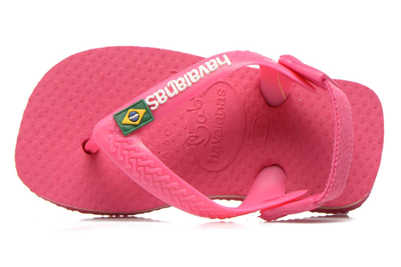 Chanclas Havaianas Baby Brazil Logo Rosa vista lateral izquierda