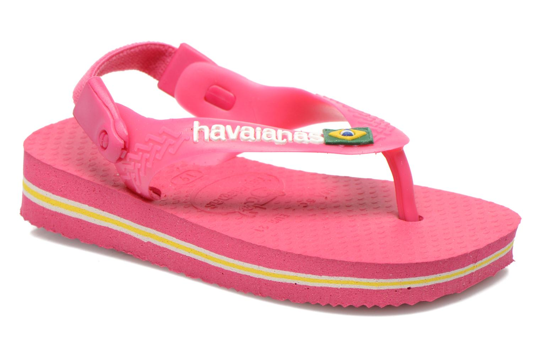 Chanclas Havaianas Baby Brazil Logo Rosa vista de detalle / par
