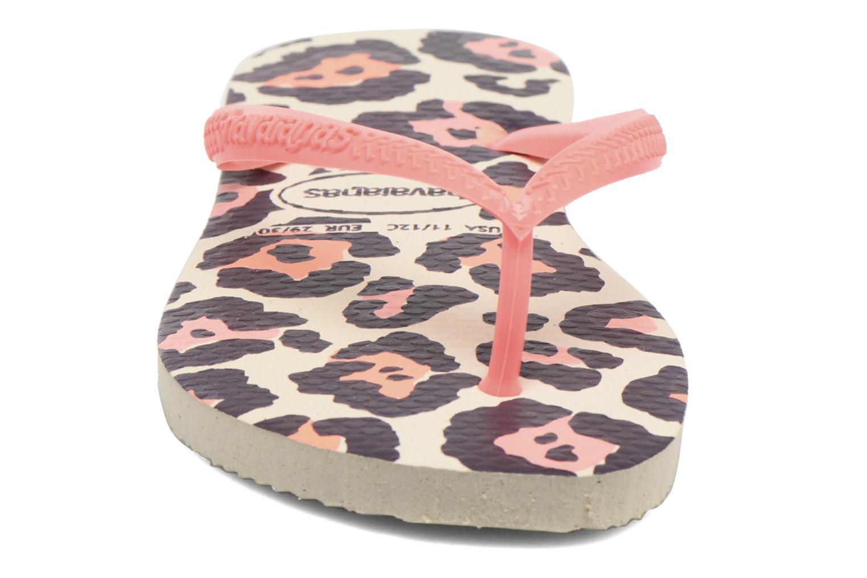 Tongs Havaianas Kids Slim Animals Beige vue portées chaussures