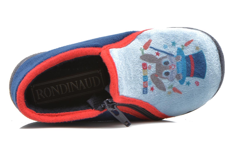 Pantuflas Rondinaud GESSY Azul vista lateral izquierda
