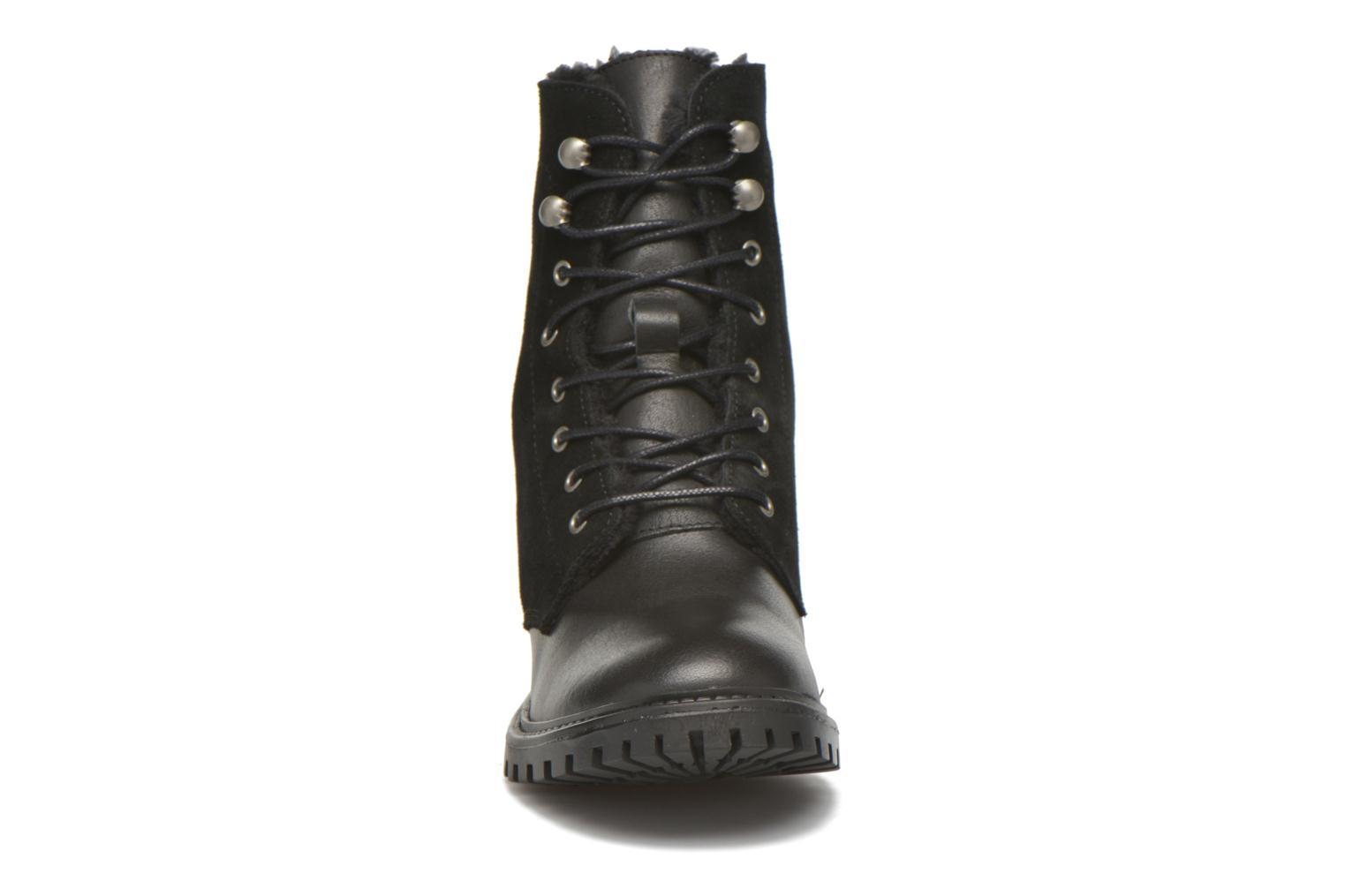 Bottines et boots Pieces Uda leather Noir vue portées chaussures