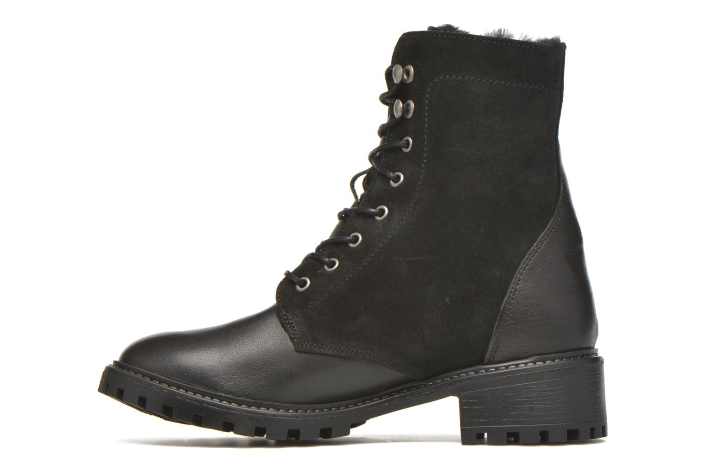 Boots en enkellaarsjes Pieces Uda leather Zwart voorkant