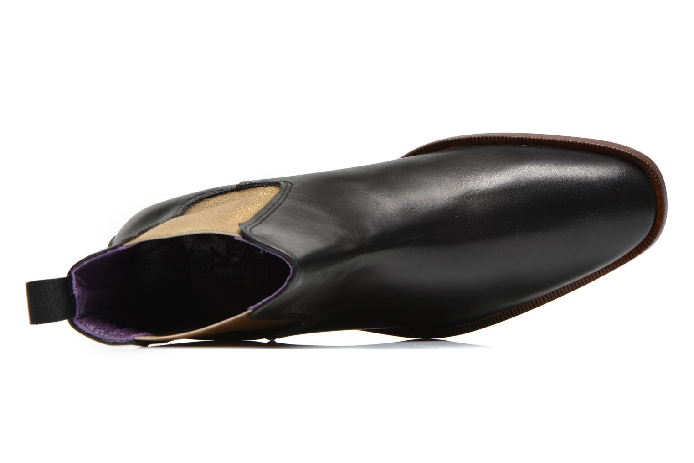 Laika cuir noir élastique doré