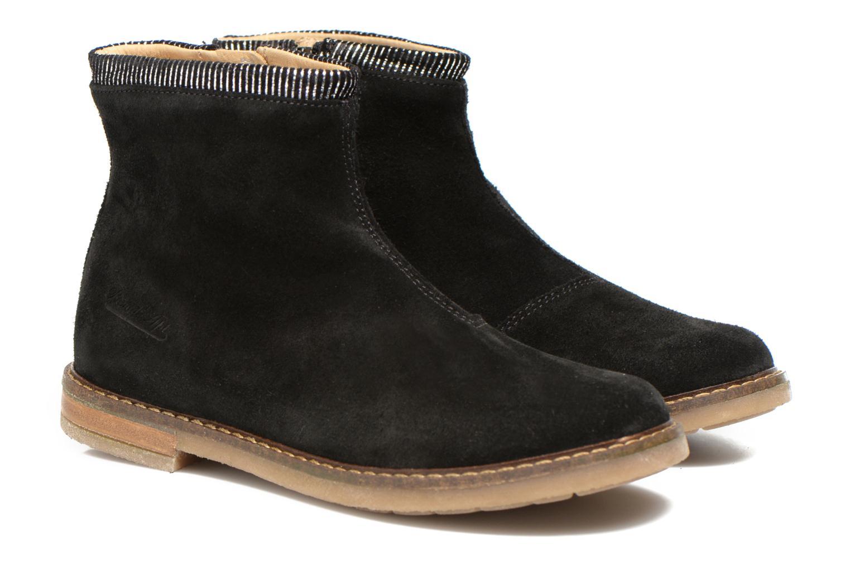 Bottines et boots Pom d Api Trip boots stripes velours Noir vue 3/4