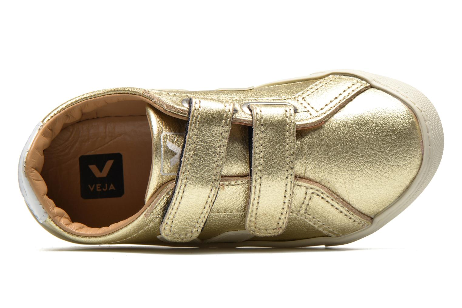 Trainers Veja Esplar Small Velcro Leather Bronze and Gold view from the left