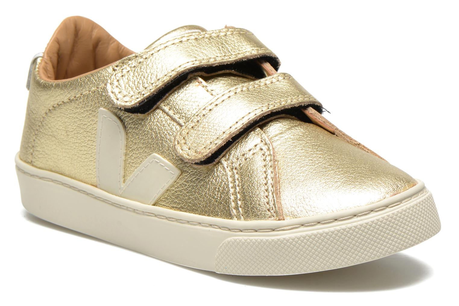 Trainers Veja Esplar Small Velcro Leather Bronze and Gold detailed view/ Pair view