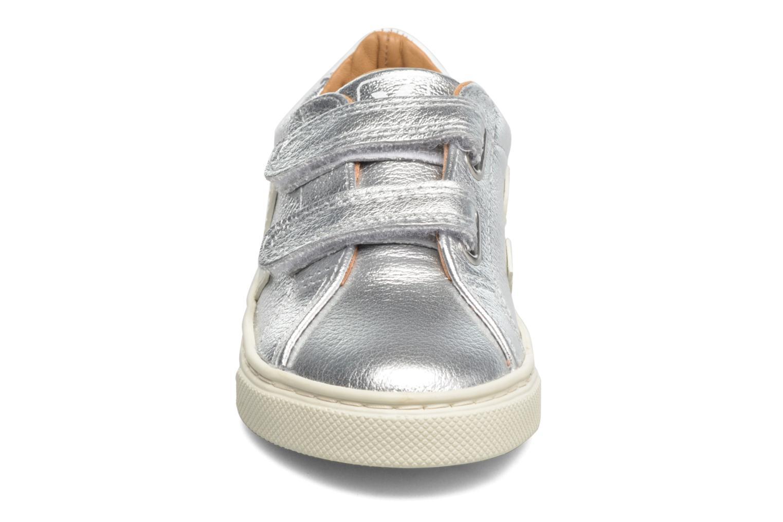 Baskets Veja Esplar Small Velcro Leather Argent vue portées chaussures