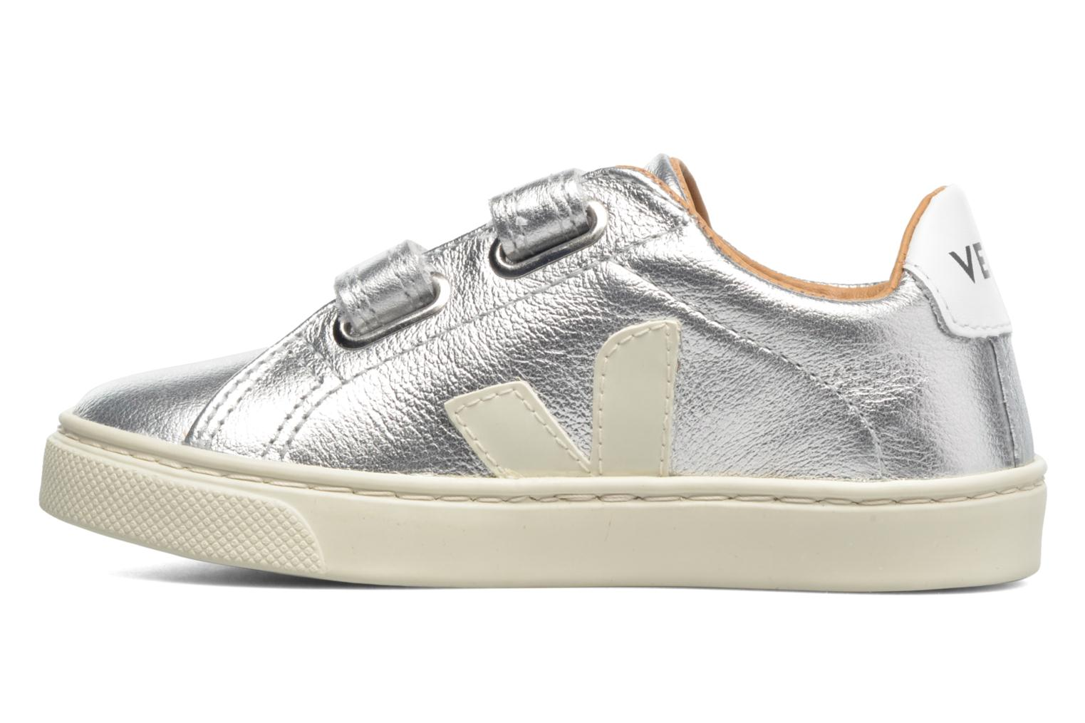 Sneakers Veja Esplar Small Velcro Leather Zilver voorkant