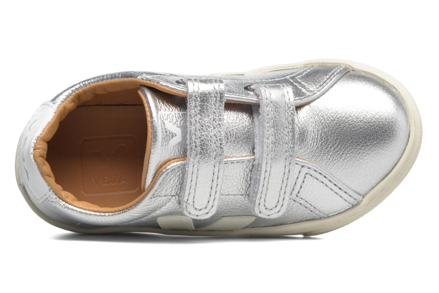Trainers Veja Esplar Small Velcro Leather Silver view from the left