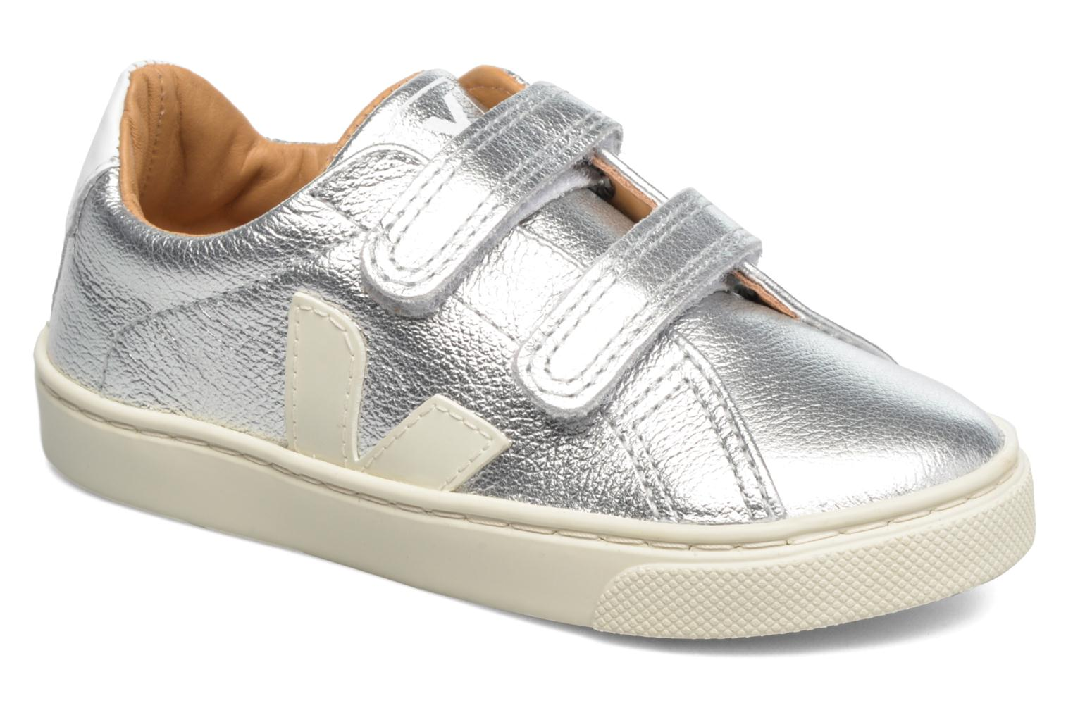 Trainers Veja Esplar Small Velcro Leather Silver detailed view/ Pair view
