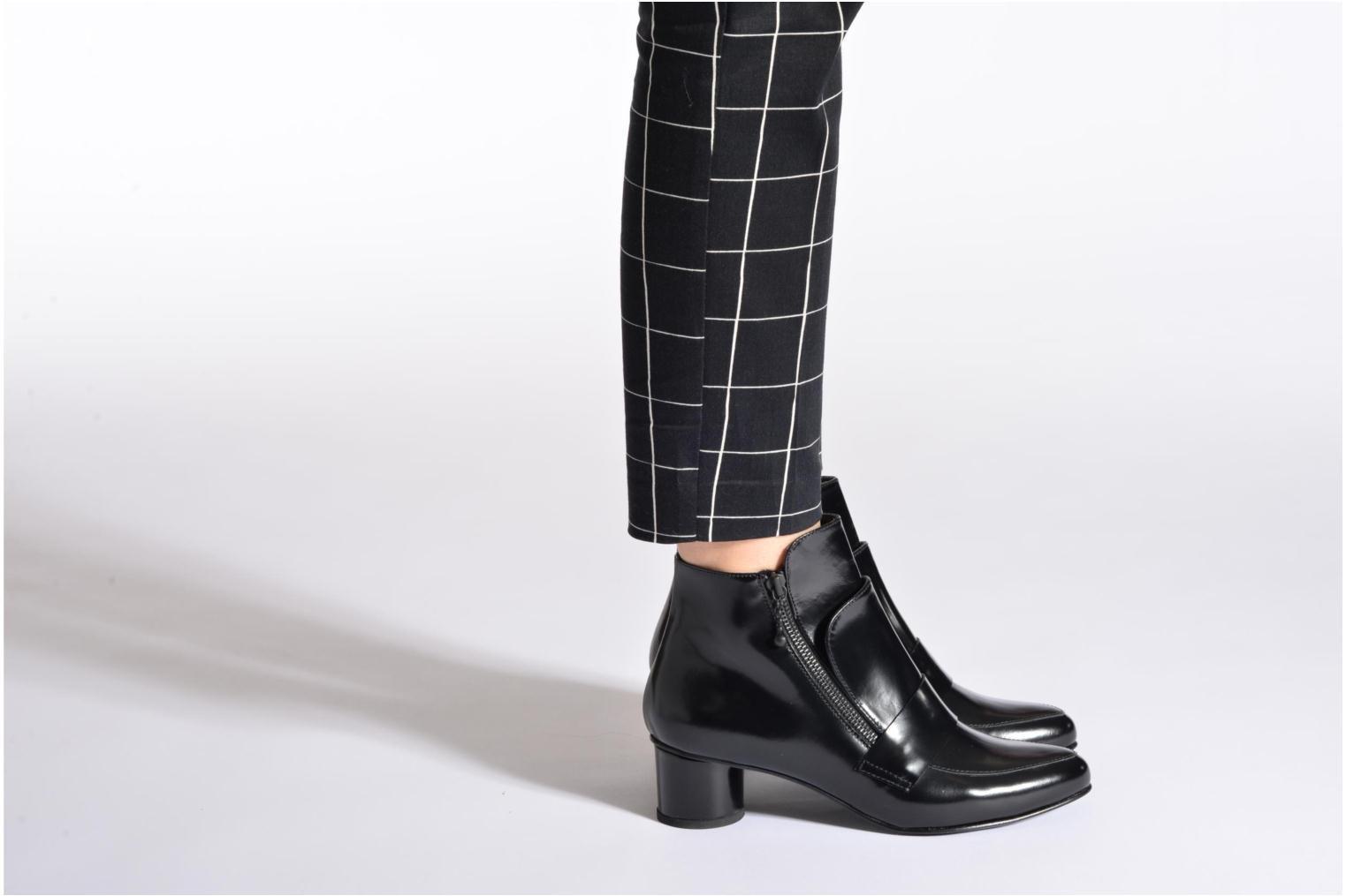 Ankelstøvler Opening Ceremony Shiny Leather Zan Loafer Bootie Sort se forneden
