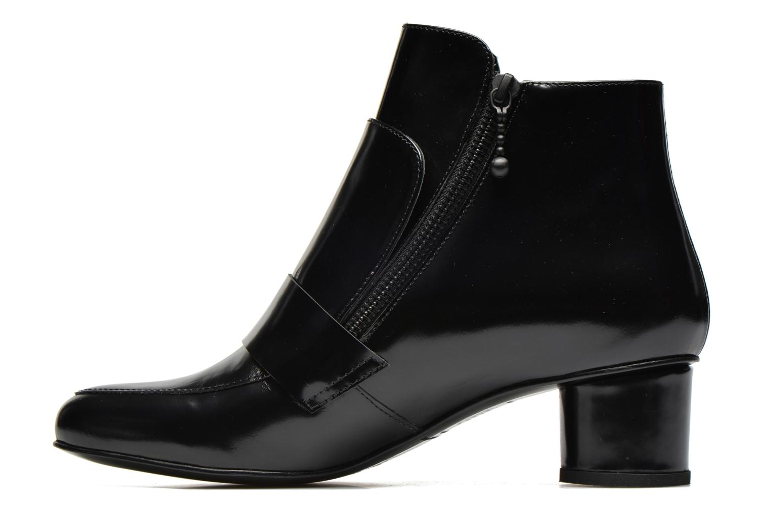 Ankelstøvler Opening Ceremony Shiny Leather Zan Loafer Bootie Sort se forfra