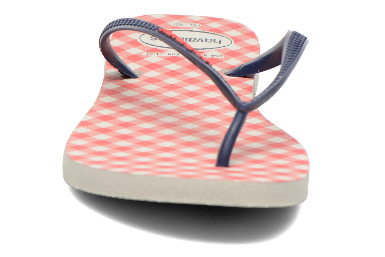 Tongs Havaianas Slim Retro Rose vue portées chaussures