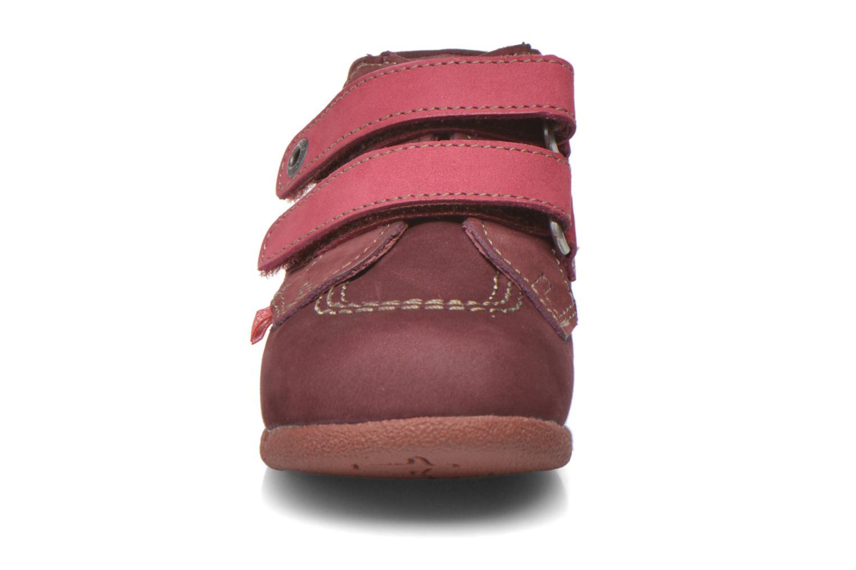 Chaussures à scratch Kickers Babyscratch Bordeaux vue portées chaussures