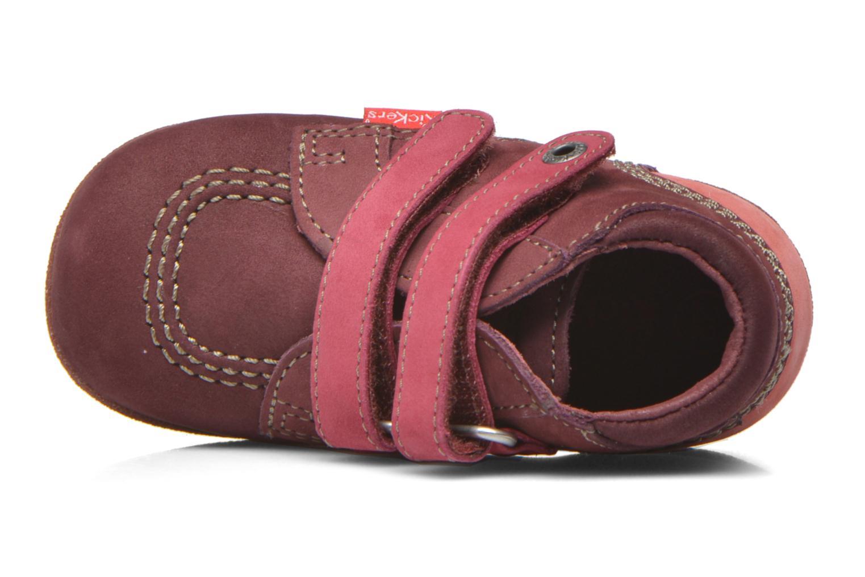 Chaussures à scratch Kickers Babyscratch Bordeaux vue gauche