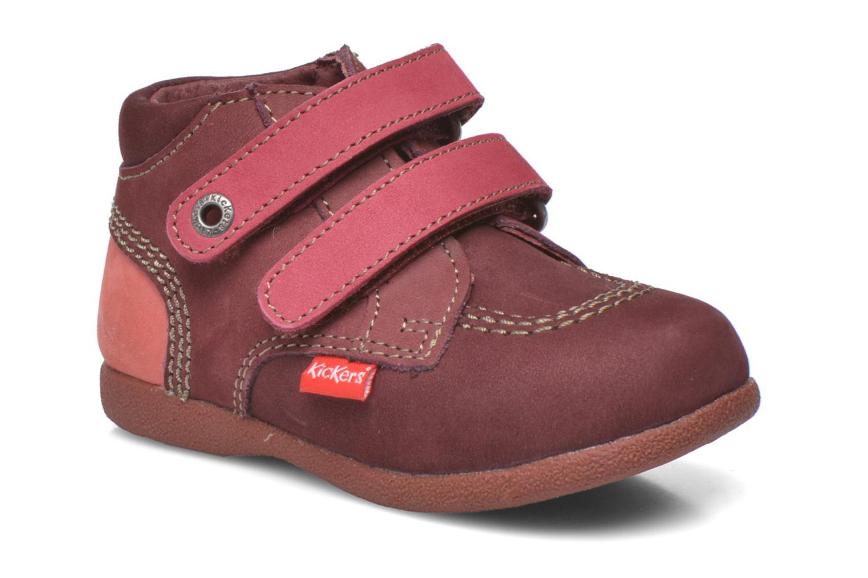 Chaussures à scratch Kickers Babyscratch Bordeaux vue détail/paire