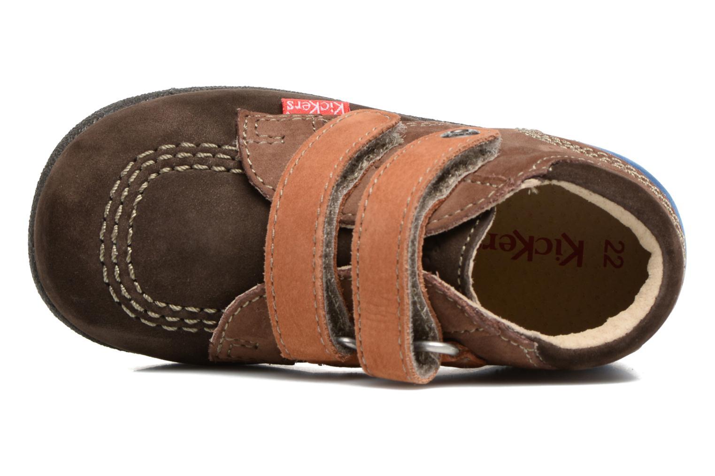 Chaussures à scratch Kickers Babyscratch Marron vue gauche