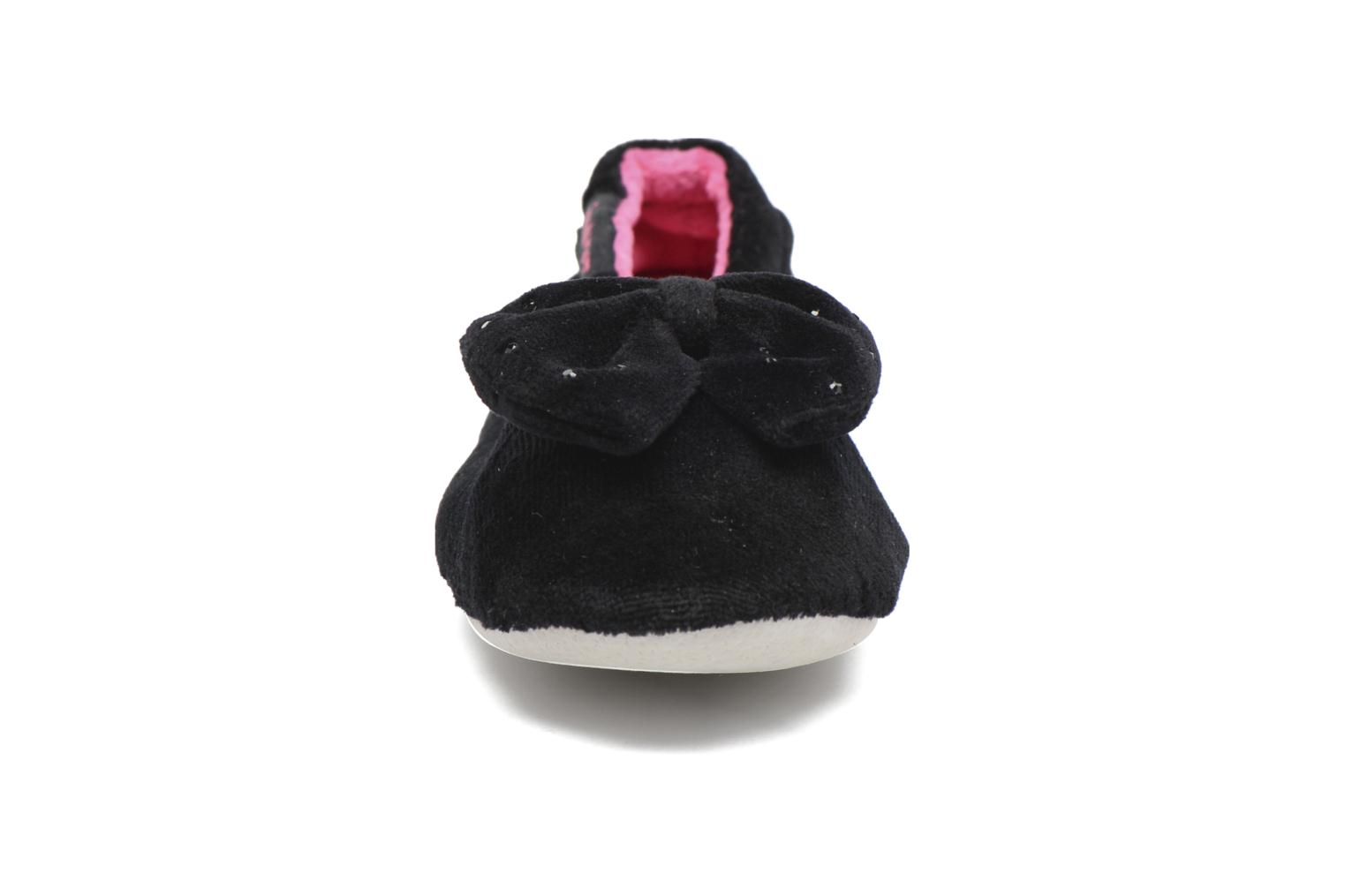 Ballerine Velours Grand Nœud Strass Kids Noir
