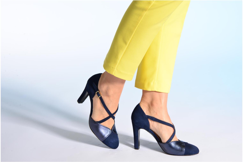 Escarpins Made by SARENZA Flore Thirties #2 Bleu vue bas / vue portée sac