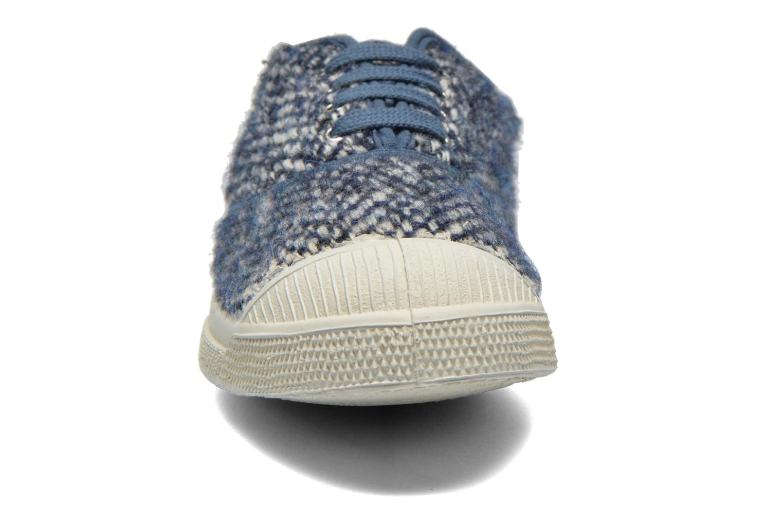 Baskets Bensimon Tennis Lacets Girly Tweed Bleu vue portées chaussures