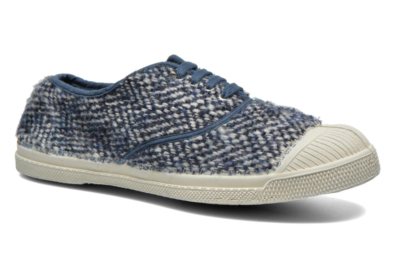 Trainers Bensimon Tennis Lacets Girly Tweed Blue detailed view/ Pair view