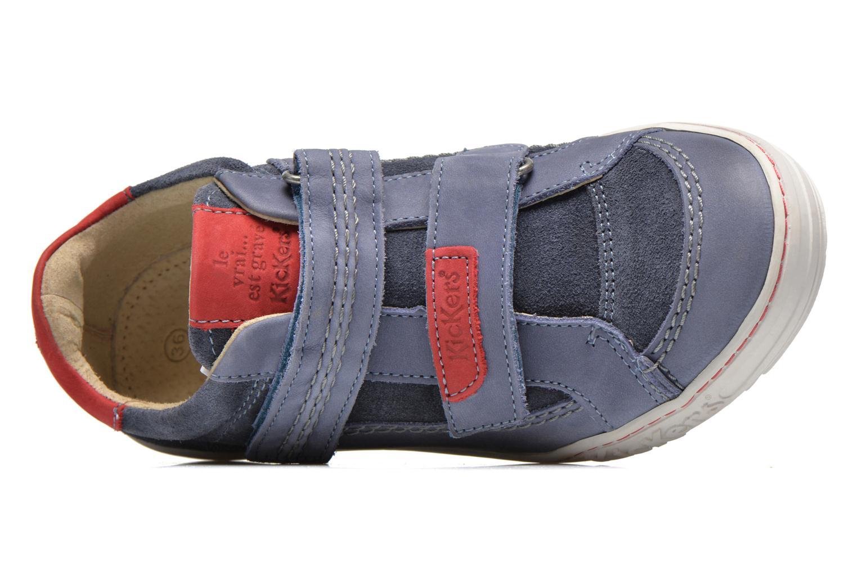 Zapatos con velcro Kickers JIUKID Azul vista lateral izquierda