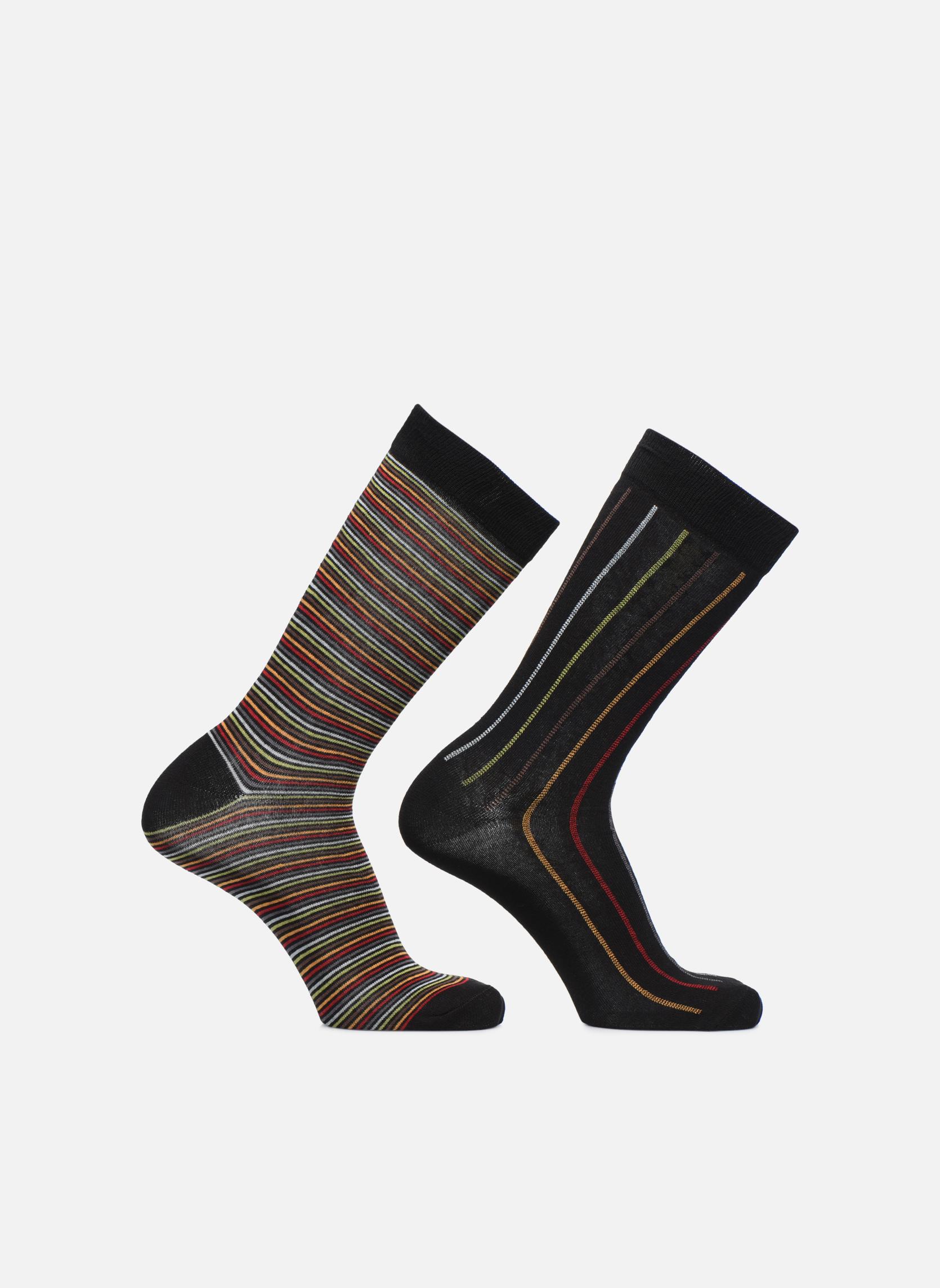 Calcetines Rayures Pack de 2 Noir