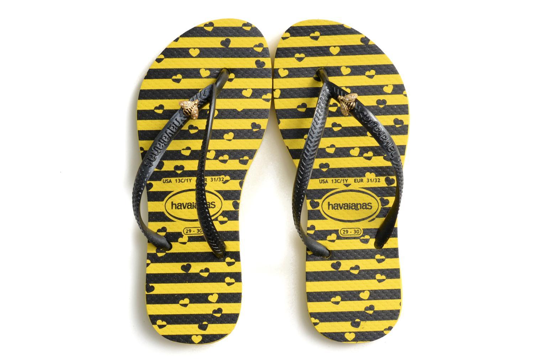 Tongs Havaianas Kids Slim Bugs Jaune vue portées chaussures