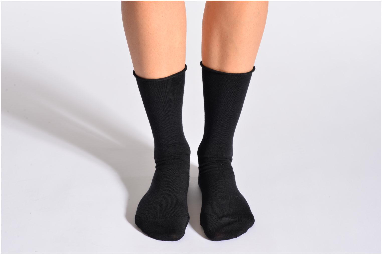 Socks & tights BLEUFORÊT Chaussettes laine fine Black detailed view/ Pair view