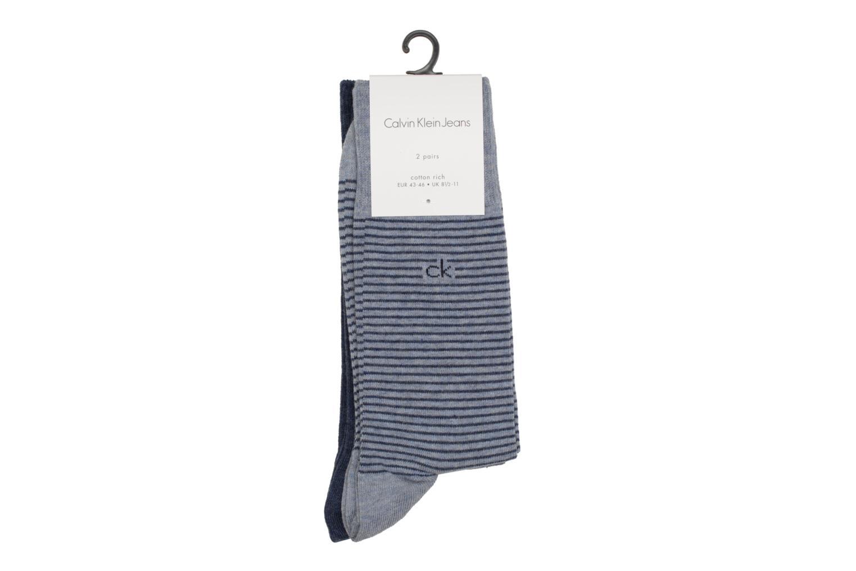 Socks STRIPES Pack of 2 D71 Bleu marble Stonewash Navy