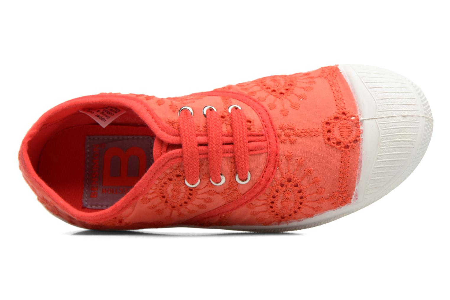 Trainers Bensimon Tennis Broderie Anglaise E Red view from the left