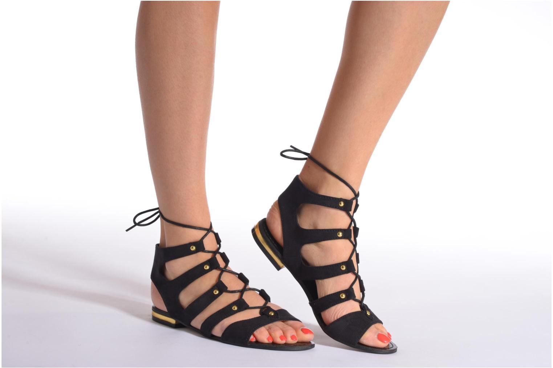 Sandales et nu-pieds Divine Factory Agathe Noir vue bas / vue portée sac