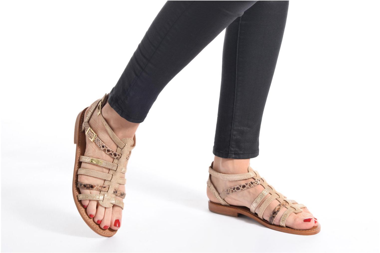 Sandals Les Tropéziennes par M Belarbi Baille Bronze and Gold view from underneath / model view