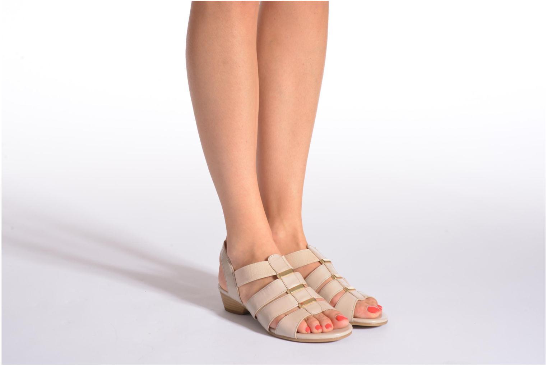 Sandales et nu-pieds Caprice Carla Beige vue bas / vue portée sac
