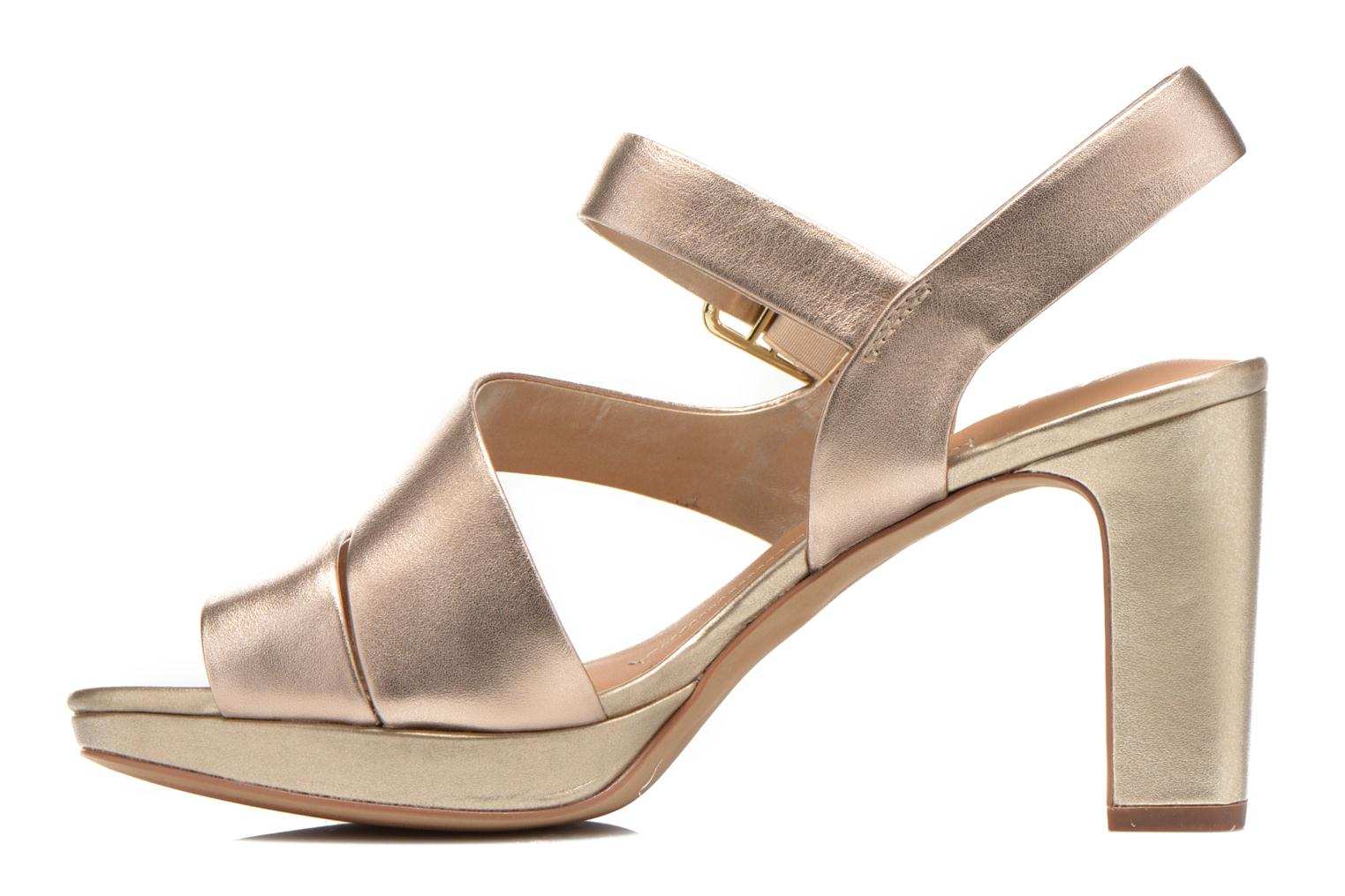 Sandals Clarks Jenness Soothe Bronze and Gold front view