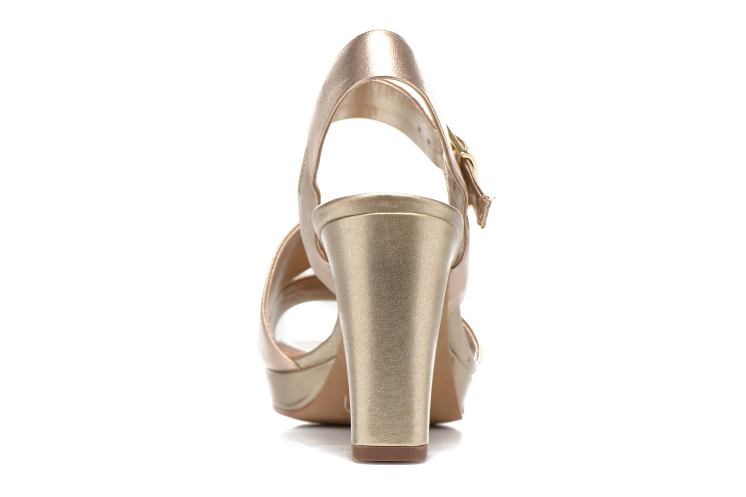 Sandalias Clarks Jenness Soothe Oro y bronce vista lateral derecha
