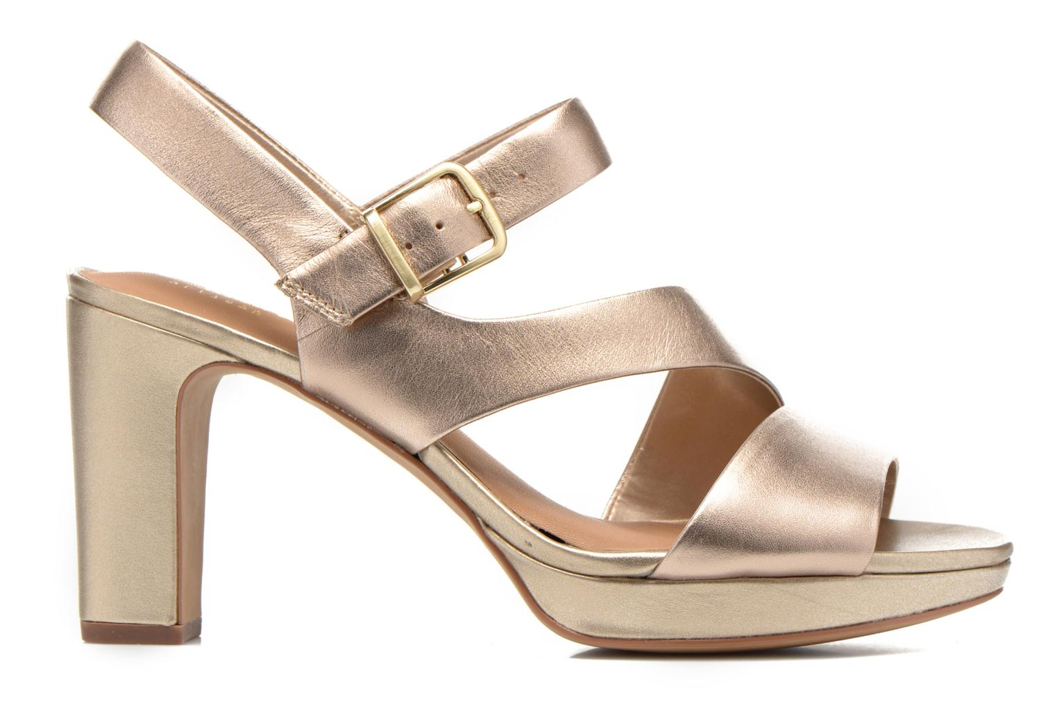 Sandalias Clarks Jenness Soothe Oro y bronce vistra trasera