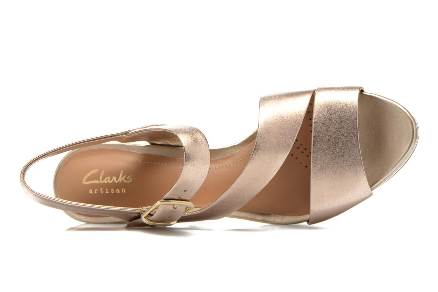 Sandals Clarks Jenness Soothe Bronze and Gold view from the left