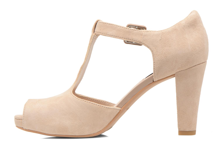 Zapatos de tacón Clarks Kendra Flower Beige vista de frente