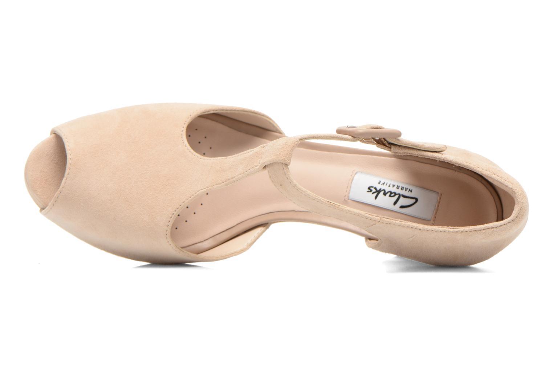 Zapatos de tacón Clarks Kendra Flower Beige vista lateral izquierda