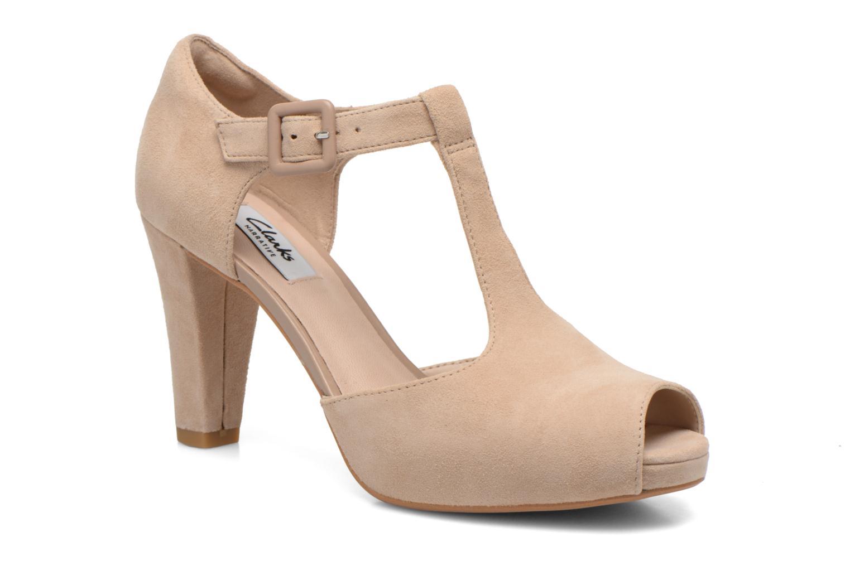 Høje hæle Clarks Kendra Flower Beige detaljeret billede af skoene