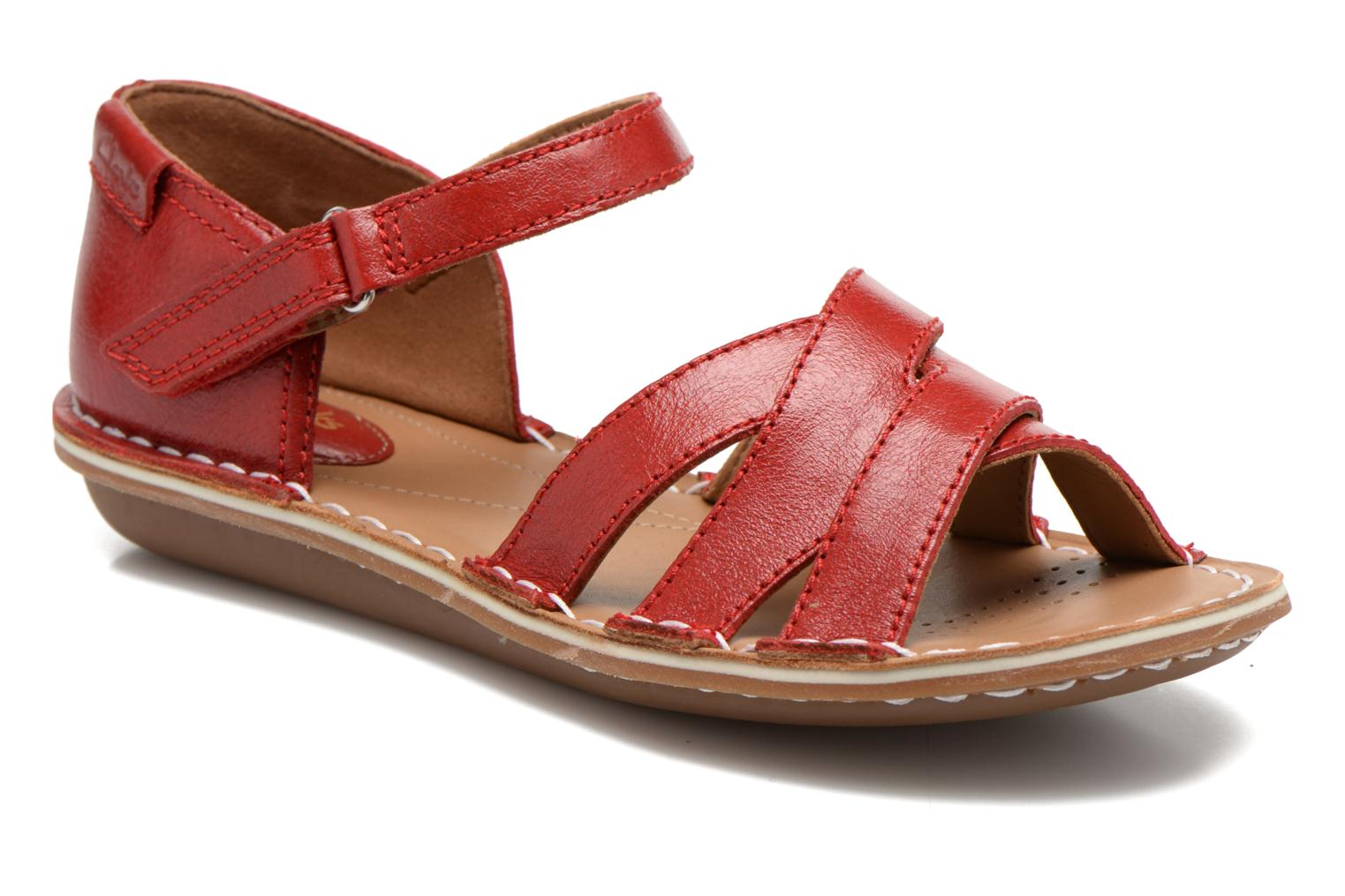Sandals Clarks Tustin Sahara Red detailed view/ Pair view