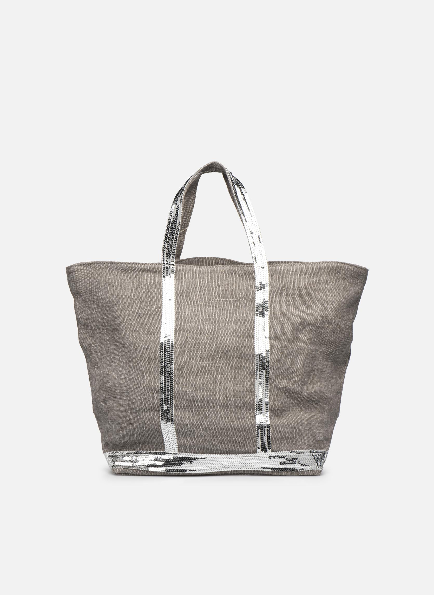 Håndtasker Vanessa Bruno Cabas Lin paillettes M+ Grå se forfra