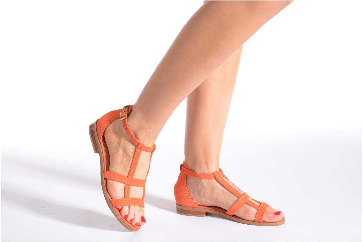 Sandals Made by SARENZA Square Simone#6 Orange view from underneath / model view