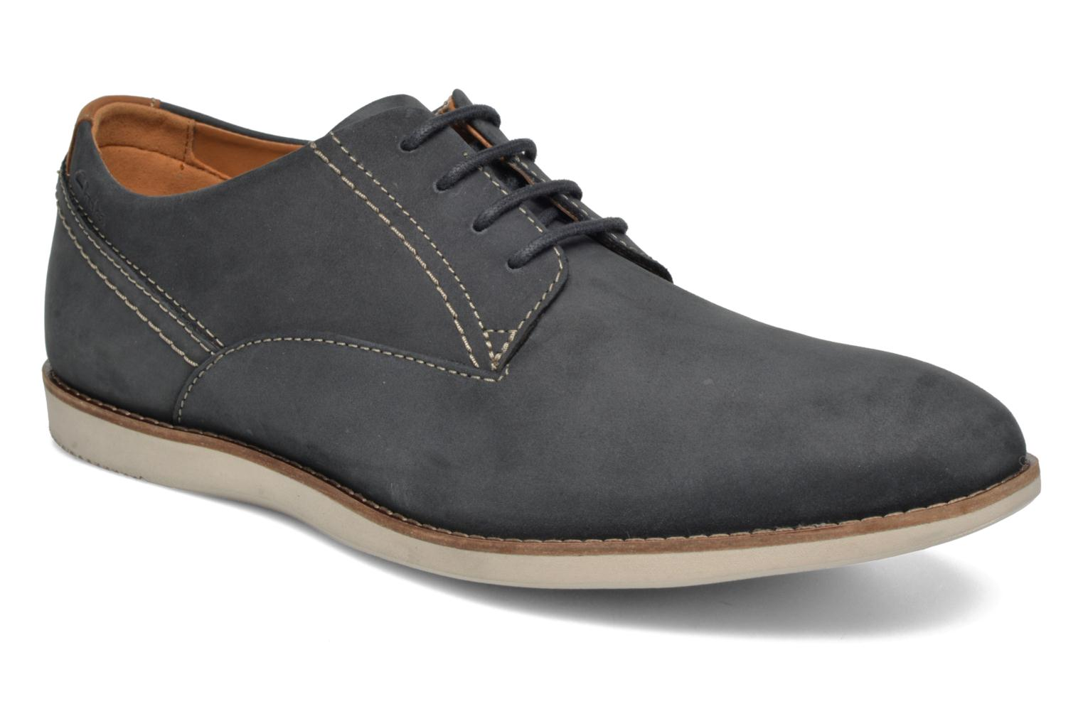 Lace-up shoes Clarks Franson Plain Blue detailed view/ Pair view