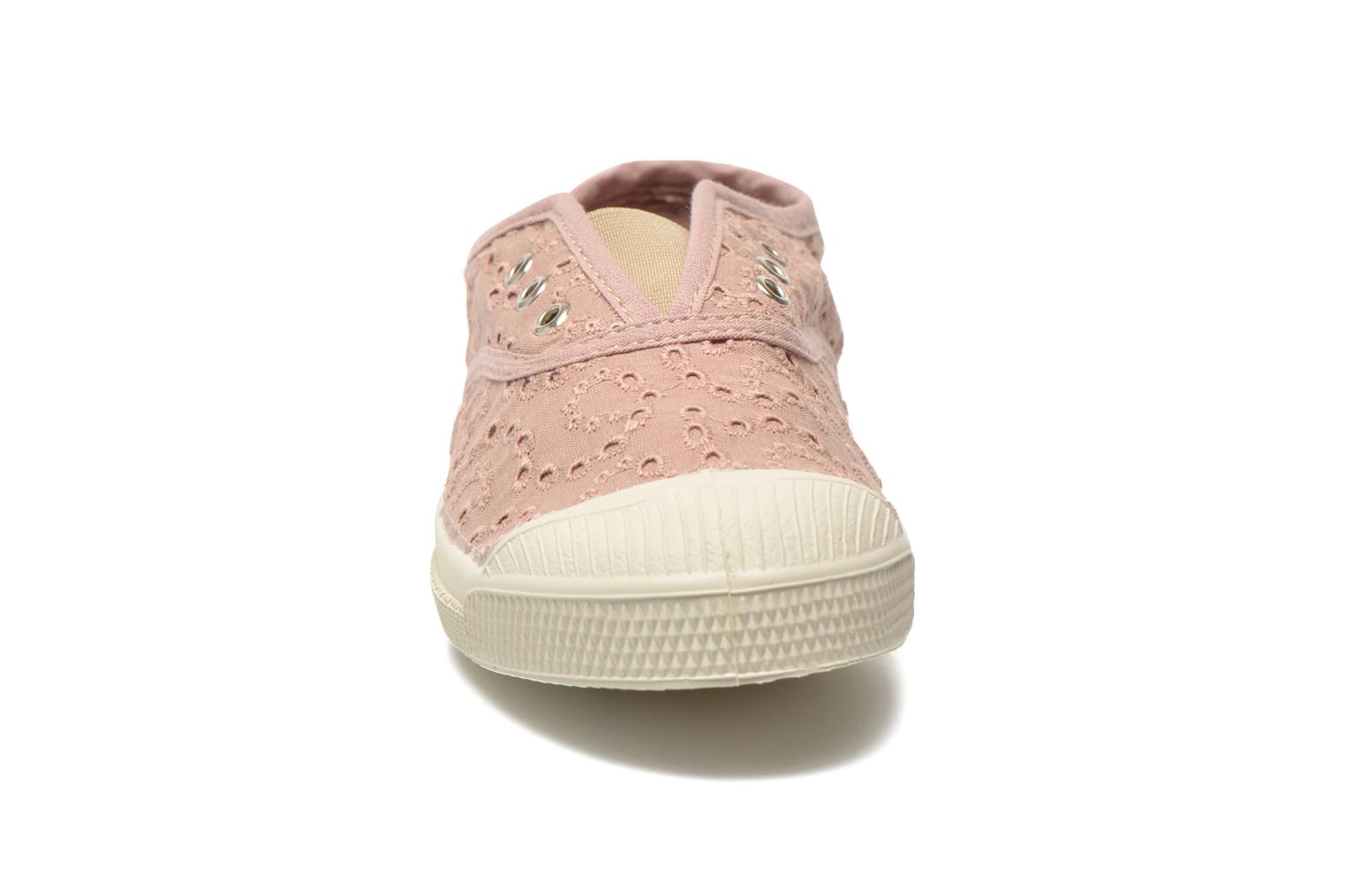 Baskets Bensimon Tennis Elly Broderie Anglaise E Rose vue portées chaussures
