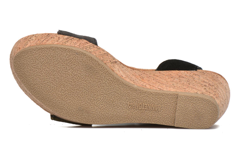Sandales et nu-pieds Minnetonka Poppy Noir vue haut